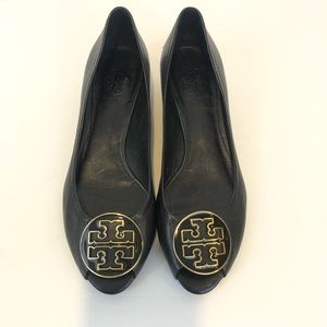 Tory Burch Black Peep Toe Wedge Shoes Size 7